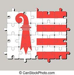 Jigsaw puzzle of Jura flag. The canton of Switzerland Confederation.