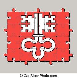 Jigsaw puzzle of Nidwalden flag. The canton of Switzerland Confederation.