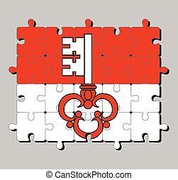 Jigsaw puzzle of Obwalden flag. The canton of Switzerland Confederation.
