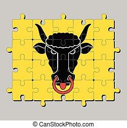 Jigsaw puzzle of Uri flag. The canton of Switzerland Confederation.