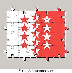 Jigsaw puzzle of Wallis flag. The canton of Switzerland Confederation.