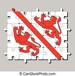 Jigsaw puzzle of Winterthur flag. The canton of Switzerland Confederation.