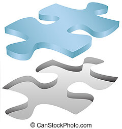 A Jigsaw Puzzle piece shape fits in a space on white as a symbol of problem solution.
