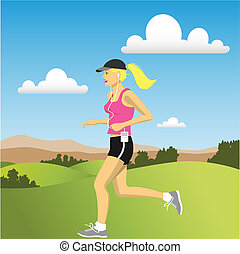 A Woman jogging in the Countryside