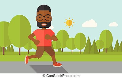 An african-american man with beard in glasses jogging in the park vector flat design illustration. Lifestyle concept. Horizontal layout with a text space.