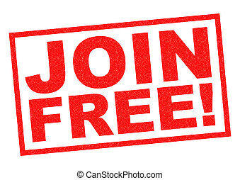 JOIN FREE! red Rubber Stamp over a white background.