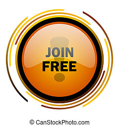 join free round design orange glossy web icon