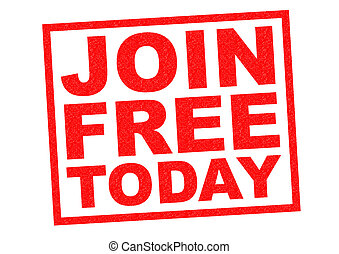 JOIN FREE TODAY red Rubber Stamp over a white background.