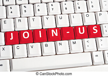 Join-us word on keyboard