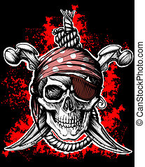 Jolly Roger, pirate symbol with crossed daggers and rope on the black and red background