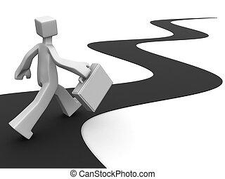 Businessman carrying briefcase walk toward to success 3d illustration