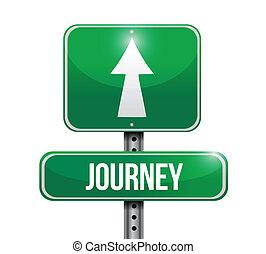 journey road sign illustration design over a white background