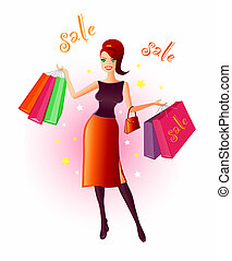 Illustration of a very happy, young woman with many shopping bags in her hands after a bargain sale. Colours can be changed and the words edited or deleted easily in this vector file.