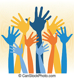 Joyful group of hands vector illustration.