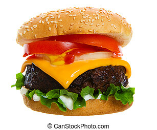 Big and Juicy cheese burger on a white background