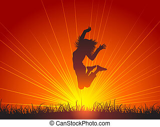 Silhouette of a female jumping for joy