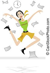 Woman jumping in the air with excitement.