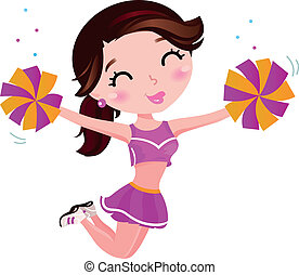 Cute happy cheerleader. Vector Illustration