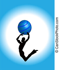Jumping Guy dancing with sphere high silhouette