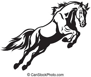 jumping horse black and white illustration