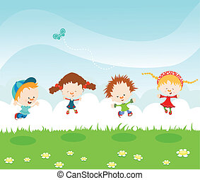 Kids Jumping On The Grass