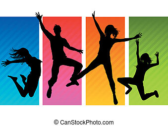 A group of happy young adults jumping! All people silhouettes are individual objects. Vector Illustration.