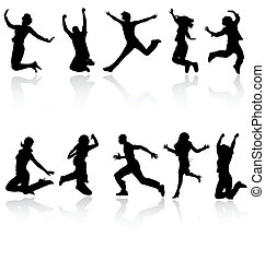 Jumping people silhouettes with reflection collection. More in my gallery.