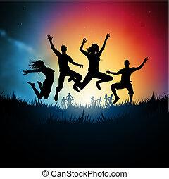 Friends jumping together. Vector illustration.
