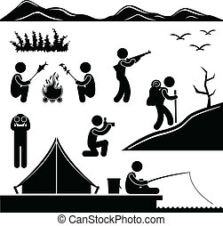 A set of pictogram about outdoor activity.