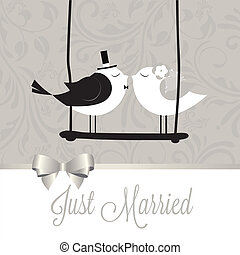 just married birds on special gray background