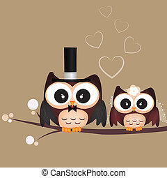 two cute owls on brown background just married