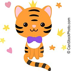 Kawaii cute striped tiger character with purple bow and crown on his head. S