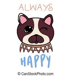 kawaii doodle dog card, cute domestic animal, lovely cartoon drawing pet, bulldog puppy, editable vector illustration for kids decoration, poster, print