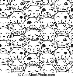 kawaii doodle pets black and white seamless, cute domestic animals, lovely cartoon drawing cat, dog, puppy, bunny, editable vector illustration for kids decoration, fabric, textile, coloring book