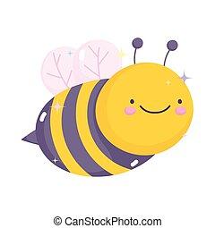 kawaii gardening cartoon cute bee character