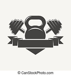 Emblem of the cross bars for fitness and gym. Vector illustration .