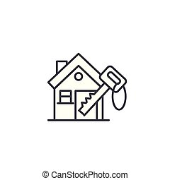 Keys to the house linear icon concept. Keys to the house line vector sign, symbol, illustration.