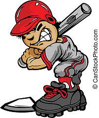 Fast Pitch Baseball Boy Cartoon Player with Bat Vector Illustration