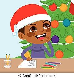 Kid Writing Santa Letter