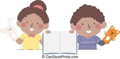 Kids African Storytelling Puppet Illustration