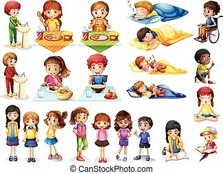 Kids and different routines illustration