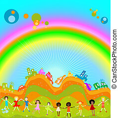 Group of kids playing, cars caravan cars and big rainbow in background