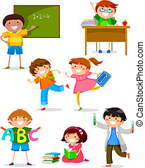 set of kids doing different things at school