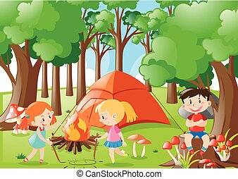 Kids camping out in the woods