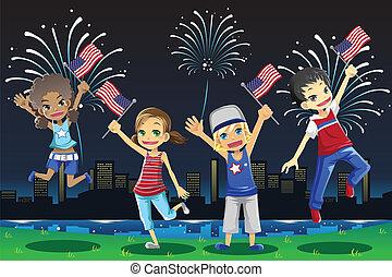 Kids celebrating Fourth of July