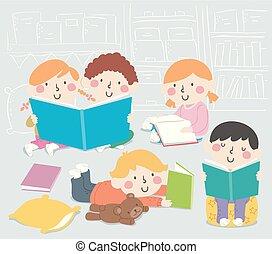 Kids Classroom Book Corner Illustration