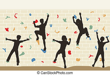 Editable vector illustration of children silhouettes on a climbing wall