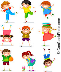 collection of happy kids in different positions