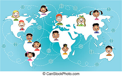 Vector illustration of children of different nations connecting worldwide