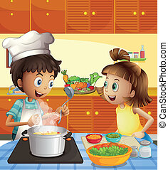 Illustration of the kids cooking at the kitchen
